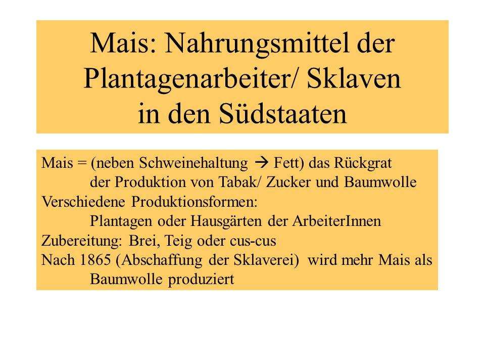 Mais: Nahrungsmittel der Plantagenarbeiter/ Sklaven in den Südstaaten Mais = (neben Schweinehaltung Fett) das Rückgrat der Produktion von Tabak/ Zucke
