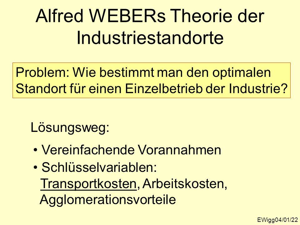 Alfred WEBERs Theorie der Industriestandorte EWigg04/01/22 Problem: Wie bestimmt man den optimalen Standort für einen Einzelbetrieb der Industrie? Ver