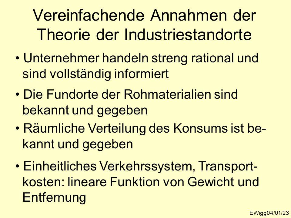 Vereinfachende Annahmen der Theorie der Industriestandorte EWigg04/01/23 Unternehmer handeln streng rational und sind vollständig informiert Die Fundo