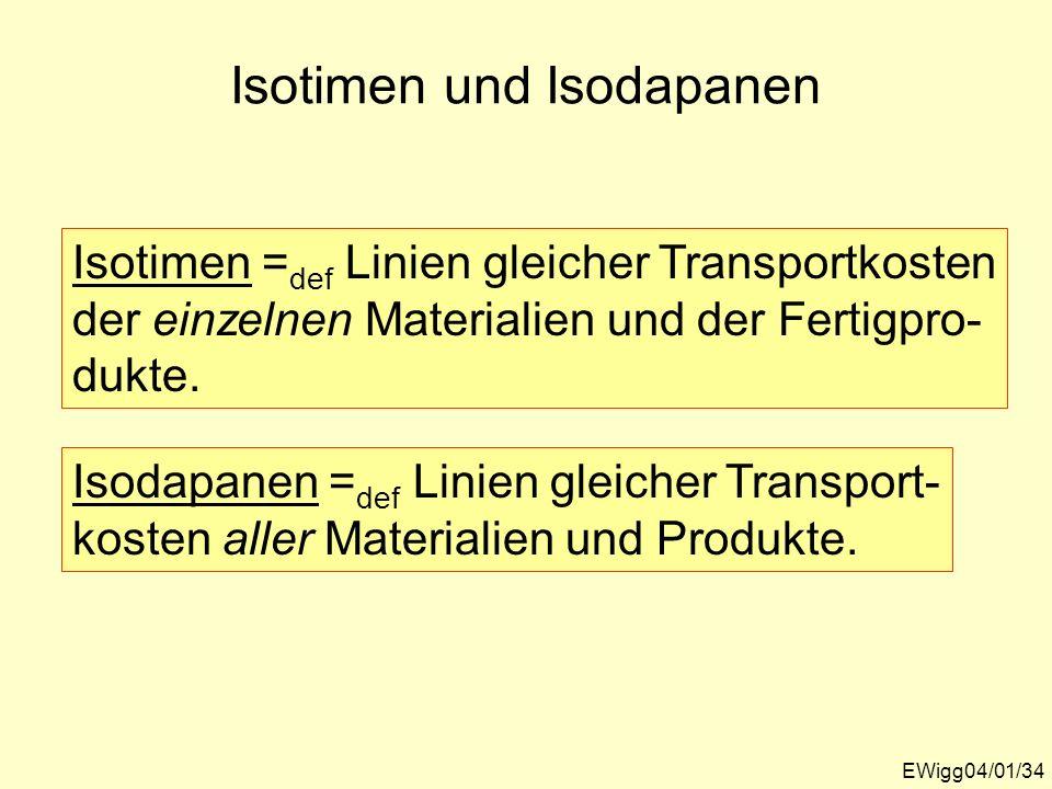 Isotimen und Isodapanen EWigg04/01/34 Isotimen = def Linien gleicher Transportkosten der einzelnen Materialien und der Fertigpro- dukte. Isodapanen =