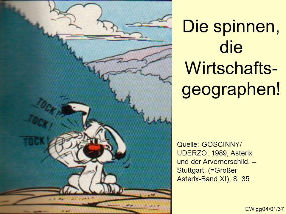 Die spinnen, die Wirtschafts- geographen! Quelle: GOSCINNY/ UDERZO; 1989, Asterix und der Arvernerschild. – Stuttgart, (=Großer Asterix-Band XI), S. 3