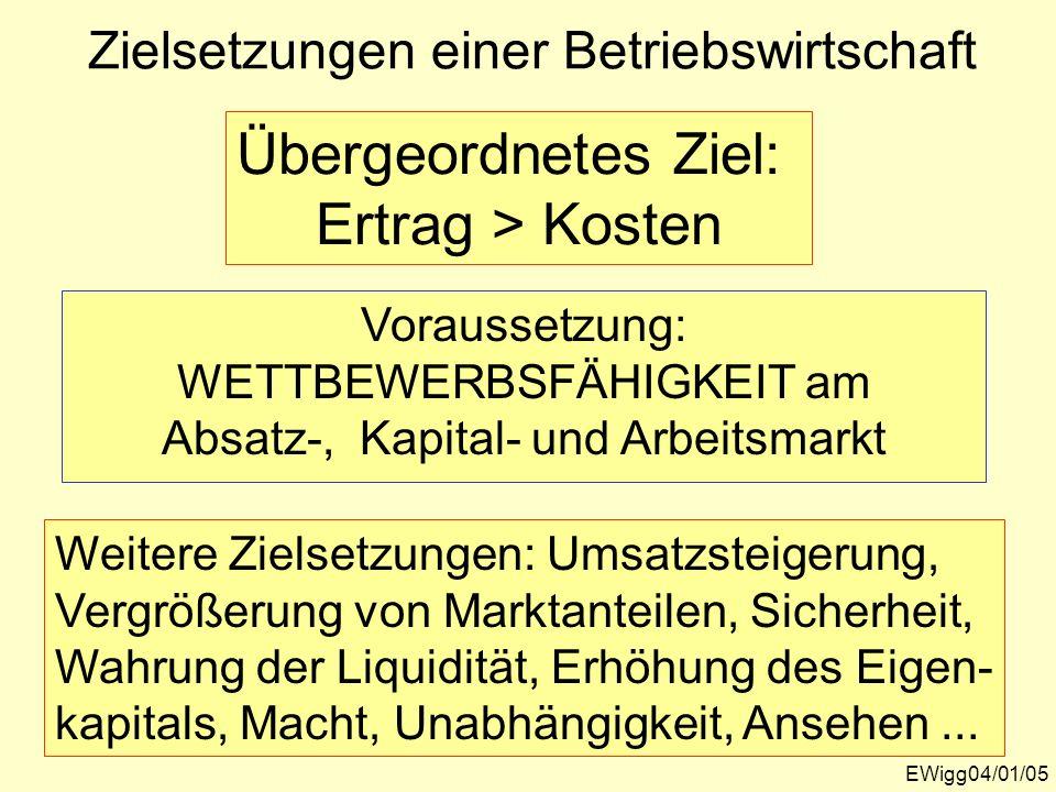 Zielsetzungen einer Betriebswirtschaft EWigg04/01/05 Übergeordnetes Ziel: Ertrag > Kosten Voraussetzung: WETTBEWERBSFÄHIGKEIT am Absatz-, Kapital- und