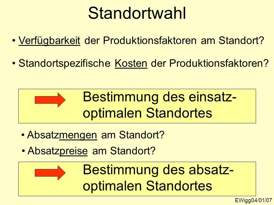 Standortwahl EWigg04/01/07 Verfügbarkeit der Produktionsfaktoren am Standort? Standortspezifische Kosten der Produktionsfaktoren? Bestimmung des einsa