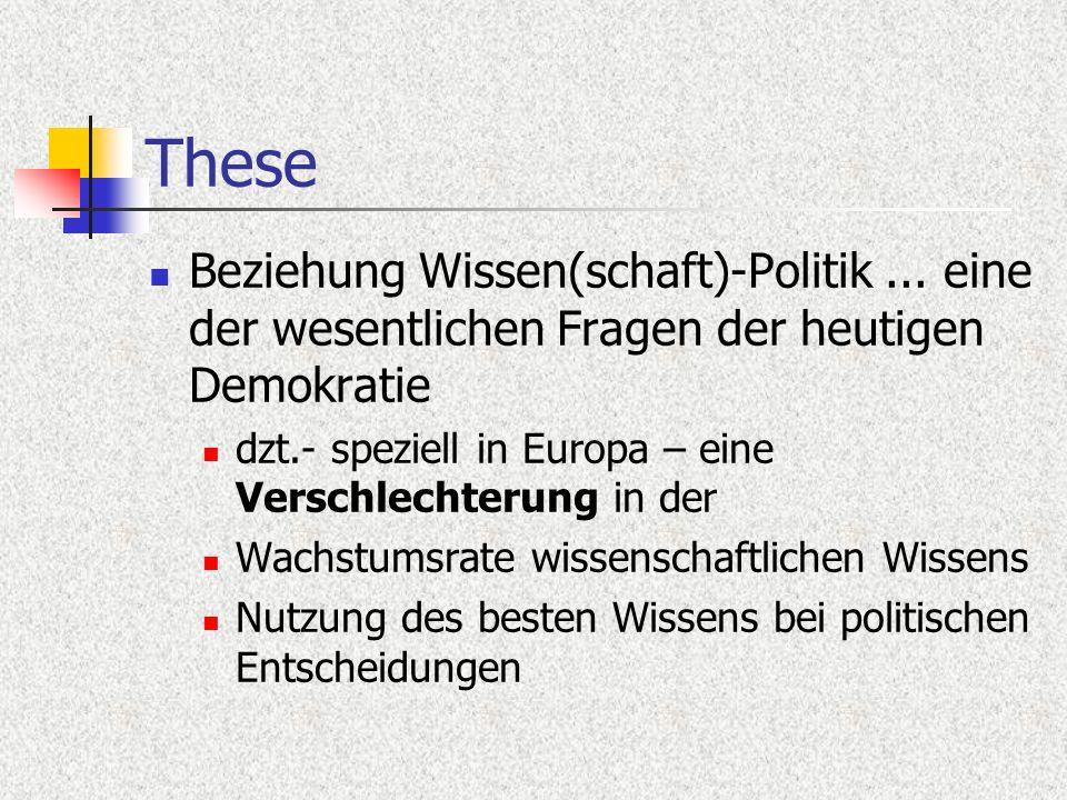These Beziehung Wissen(schaft)-Politik... eine der wesentlichen Fragen der heutigen Demokratie dzt.- speziell in Europa – eine Verschlechterung in der