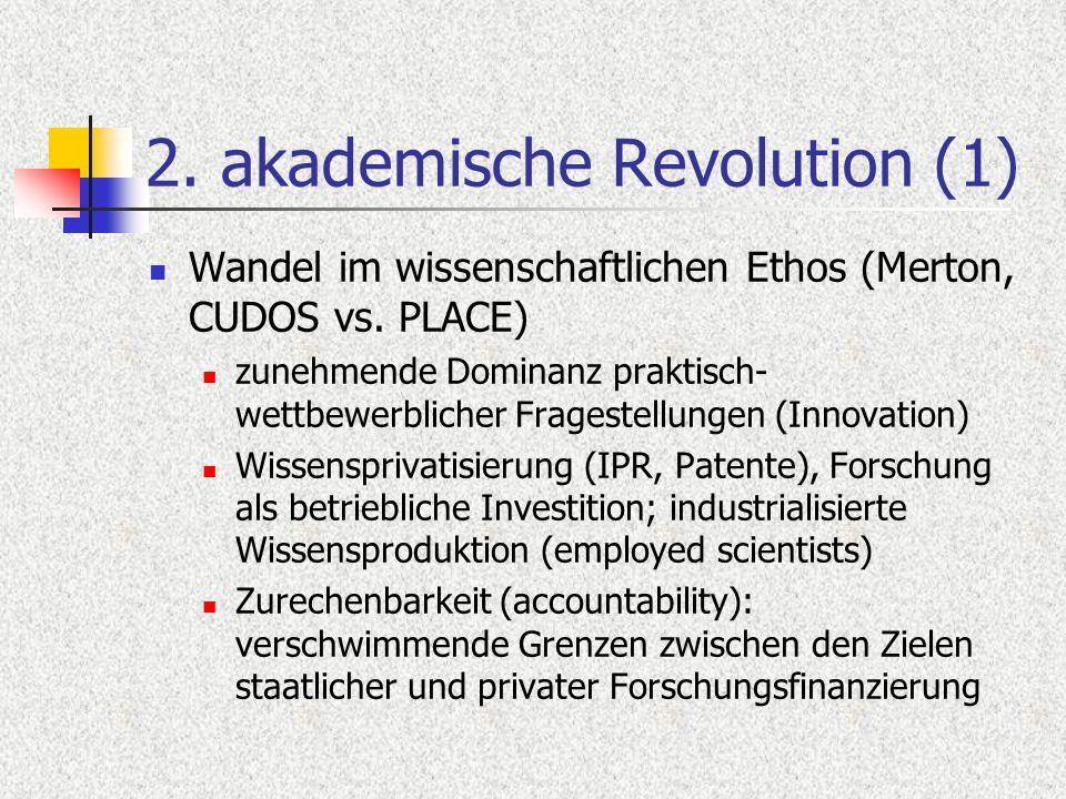 2. akademische Revolution (1) Wandel im wissenschaftlichen Ethos (Merton, CUDOS vs. PLACE) zunehmende Dominanz praktisch- wettbewerblicher Fragestellu