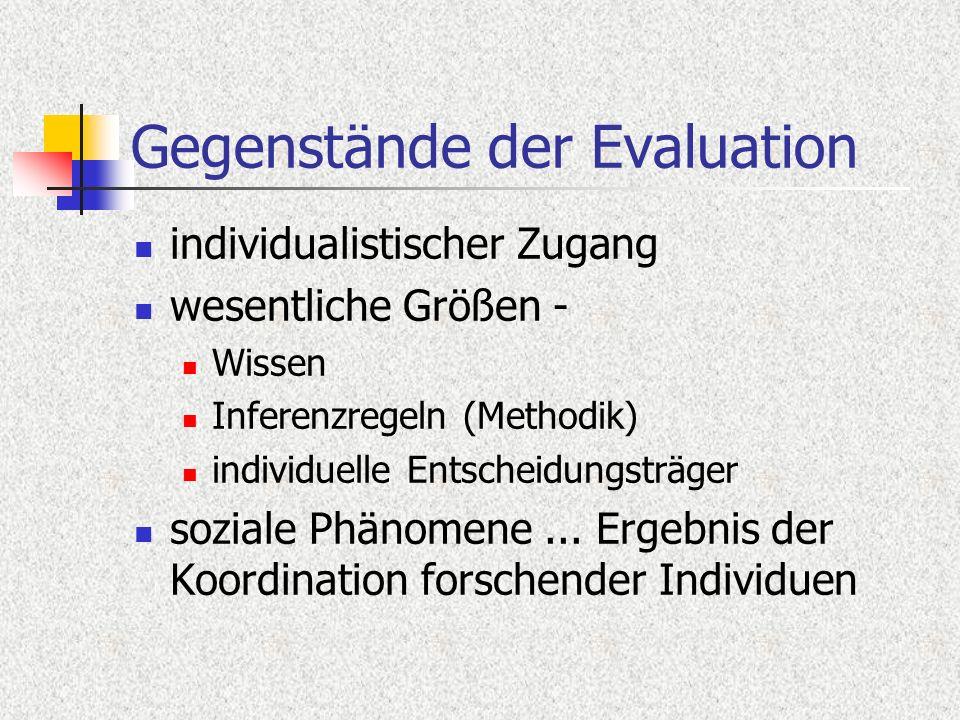 Gegenstände der Evaluation individualistischer Zugang wesentliche Größen - Wissen Inferenzregeln (Methodik) individuelle Entscheidungsträger soziale P