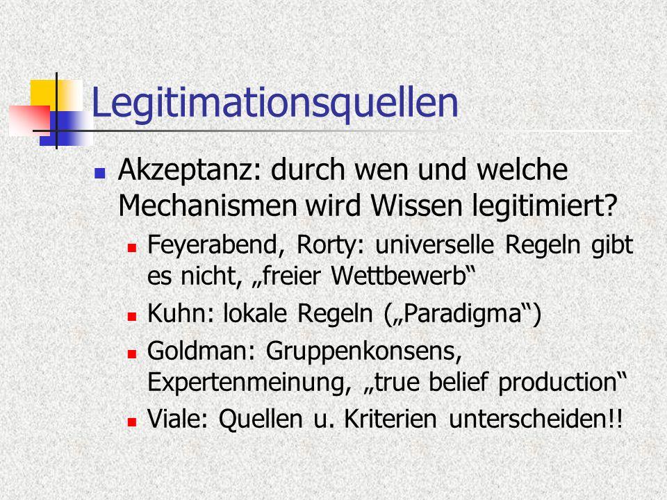 Legitimationsquellen Akzeptanz: durch wen und welche Mechanismen wird Wissen legitimiert? Feyerabend, Rorty: universelle Regeln gibt es nicht, freier