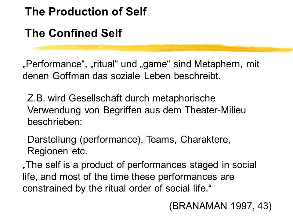 The Production of Self The Confined Self Performance, ritual und game sind Metaphern, mit denen Goffman das soziale Leben beschreibt. Z.B. wird Gesell