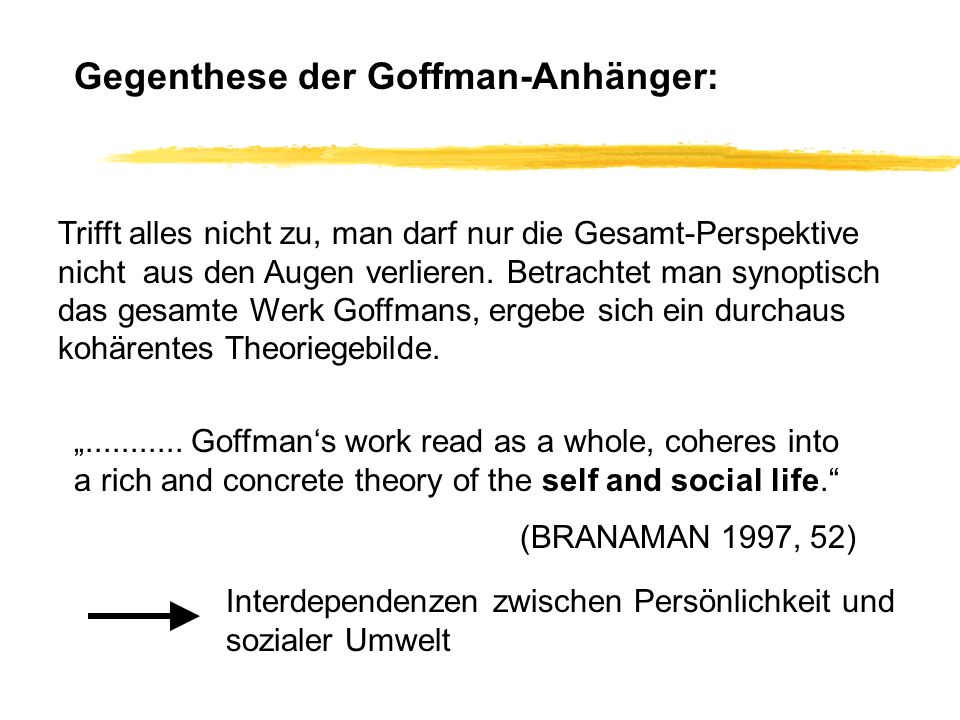 Arbeitsbereiche von Goffman nach Branaman 1997, 40 (ideas in Goffmans thought) - The Production of Self - The Confined Self - The Nature of Social Life - Frames and the Organization of Experience