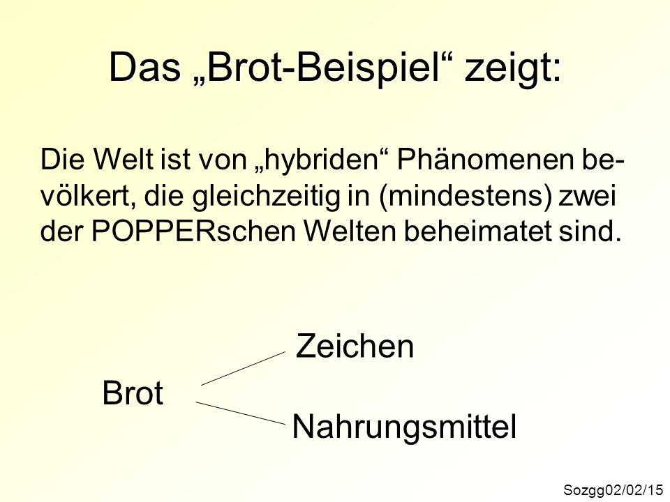 Das Brot-Beispiel zeigt: Sozgg02/02/15 Die Welt ist von hybriden Phänomenen be- völkert, die gleichzeitig in (mindestens) zwei der POPPERschen Welten
