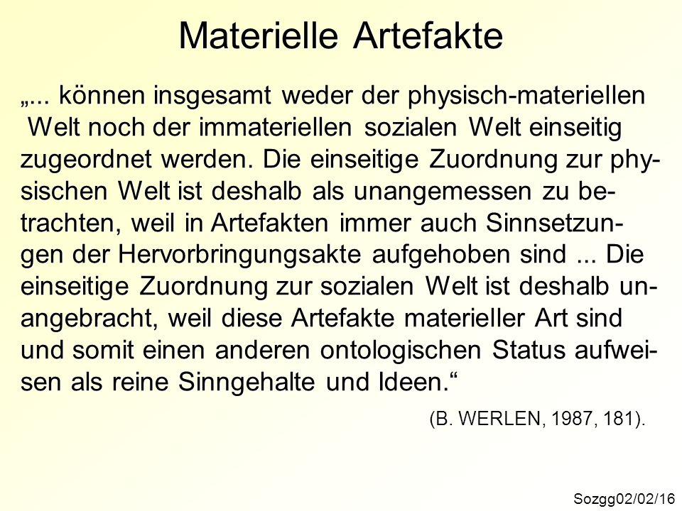 Materielle Artefakte Sozgg02/02/16... können insgesamt weder der physisch-materiellen Welt noch der immateriellen sozialen Welt einseitig Welt noch de