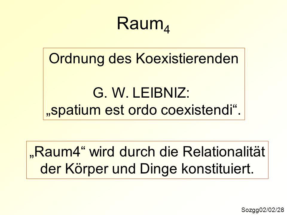 Sozgg02/02/28 Raum 4 Ordnung des Koexistierenden G. W. LEIBNIZ: spatium est ordo coexistendi. Raum4 wird durch die Relationalität der Körper und Dinge
