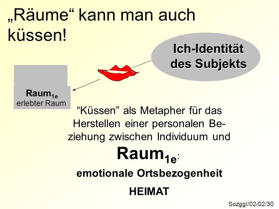 SozggI/02/02/30 Räume kann man auch küssen! Küssen als Metapher für das Herstellen einer personalen Be- ziehung zwischen Individuum und Raum 1e : emot