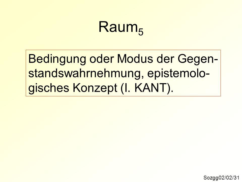 Sozgg02/02/31 Raum 5 Bedingung oder Modus der Gegen- standswahrnehmung, epistemolo- gisches Konzept (I. KANT).