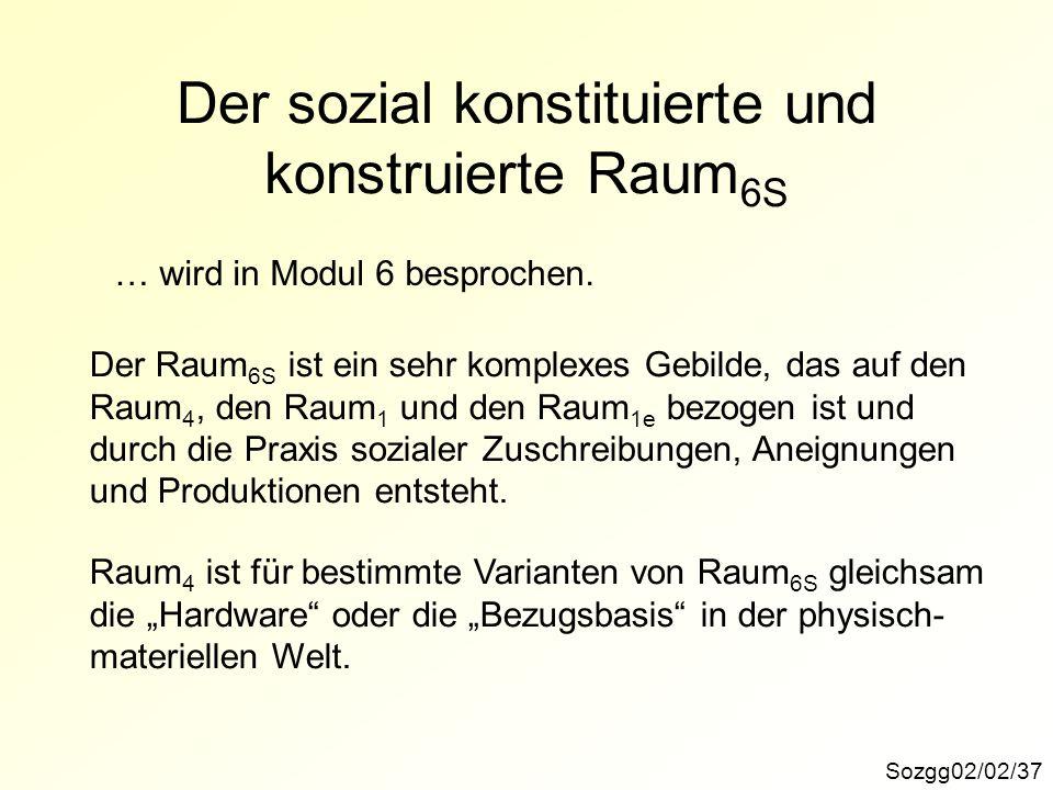 Der sozial konstituierte und konstruierte Raum 6S Sozgg02/02/37 … wird in Modul 6 besprochen. Der Raum 6S ist ein sehr komplexes Gebilde, das auf den
