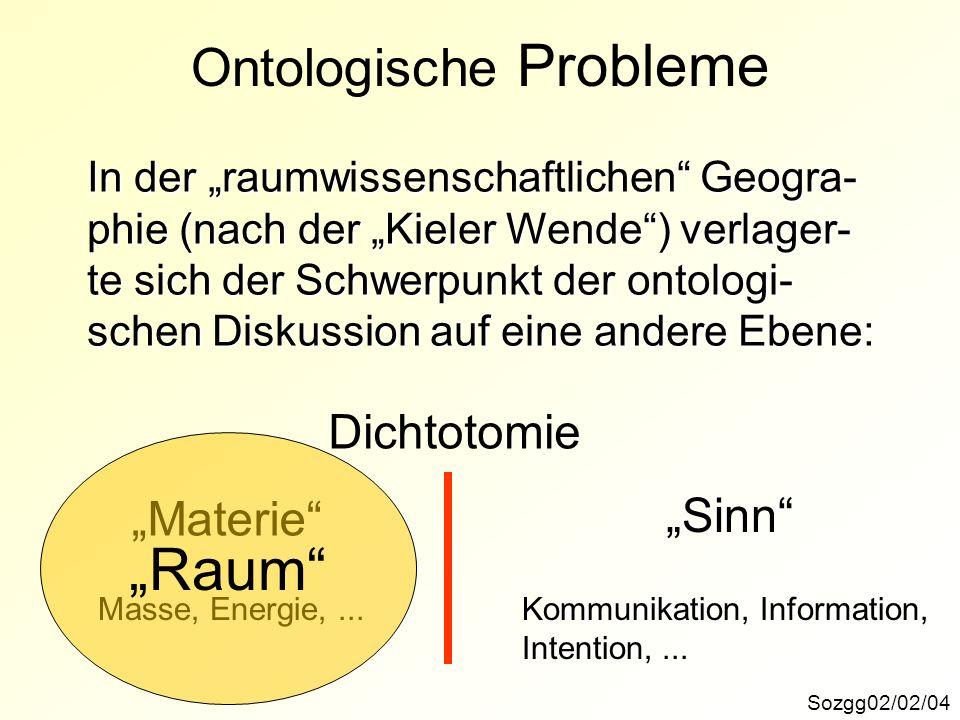 Sozgg02/02/04 Ontologische Probleme In der raumwissenschaftlichen Geogra- phie (nach der Kieler Wende) verlager- te sich der Schwerpunkt der ontologi-
