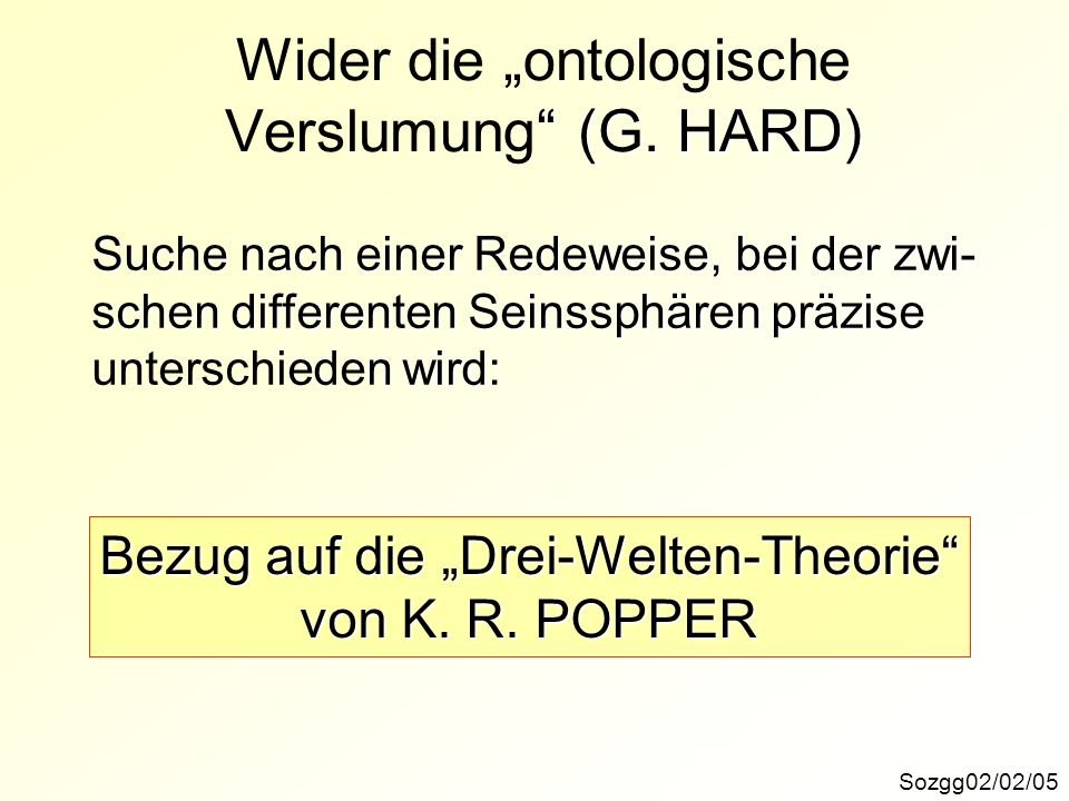 (G. HARD) Wider die ontologische Verslumung (G. HARD) Sozgg02/02/05 Suche nach einer Redeweise, bei der zwi- schen differenten Seinssphären präzise wi