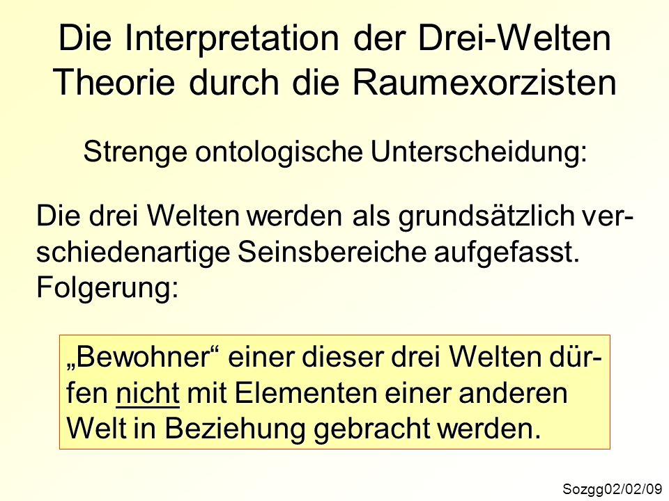 Die Interpretation der Drei-Welten Theorie durch die Raumexorzisten Sozgg02/02/09 ontologische Unterscheidung: Strenge ontologische Unterscheidung: Di