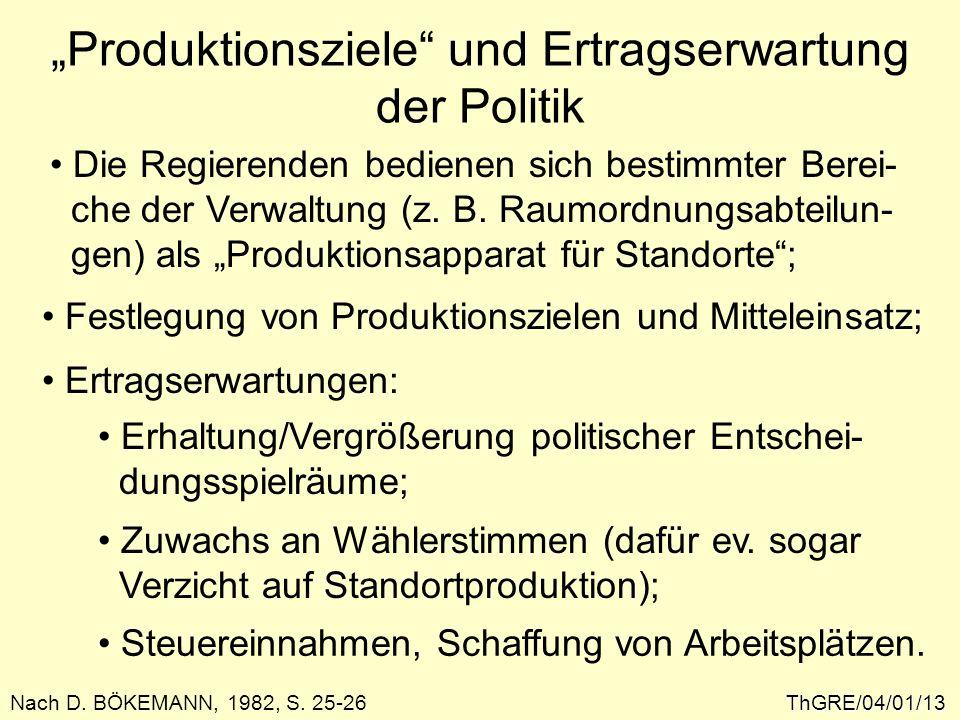 Produktionsziele und Ertragserwartung der Politik ThGRE/04/01/13 Die Regierenden bedienen sich bestimmter Berei- che der Verwaltung (z. B. Raumordnung