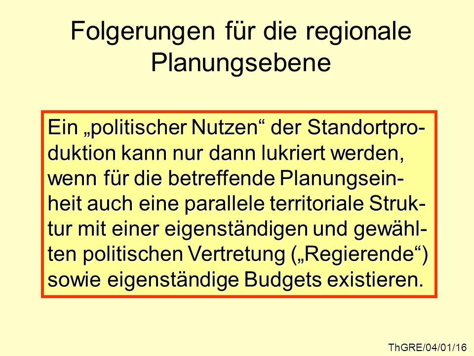 Folgerungen für die regionale Planungsebene ThGRE/04/01/16 Ein politischer Nutzen der Standortpro- duktion kann nur dann lukriert werden, wenn für die