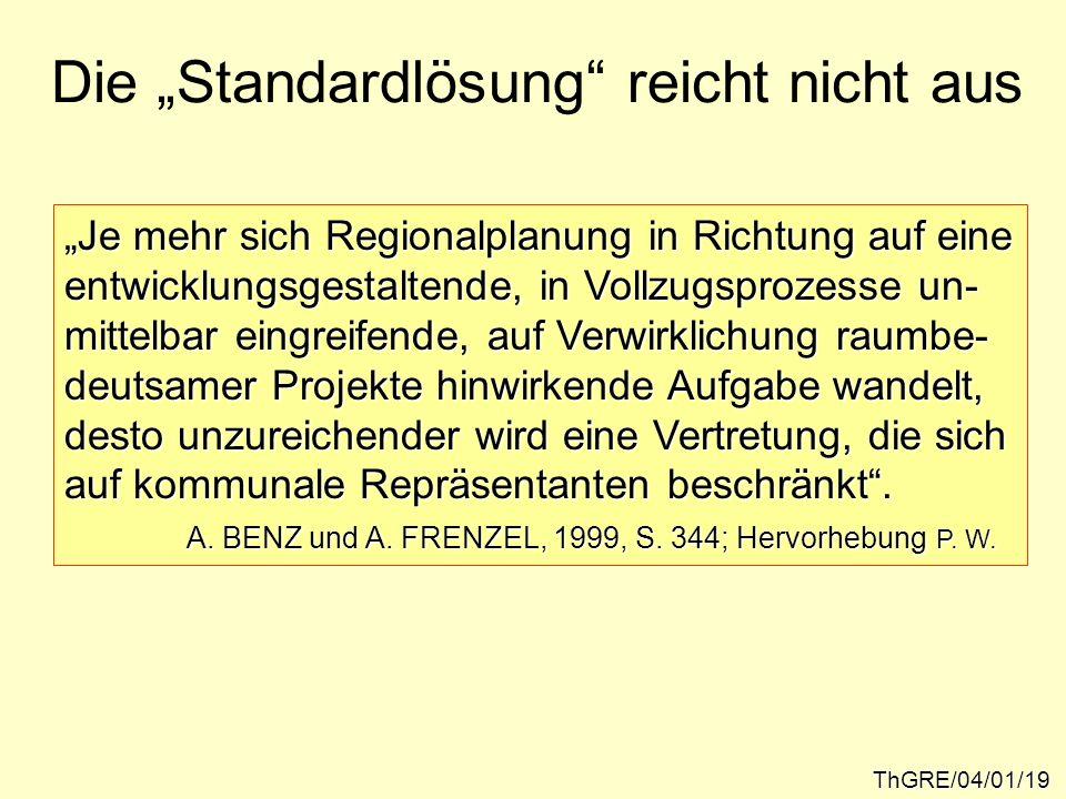 Die Standardlösung reicht nicht aus ThGRE/04/01/19 Je mehr sich Regionalplanung in Richtung auf eine entwicklungsgestaltende, in Vollzugsprozesse un-