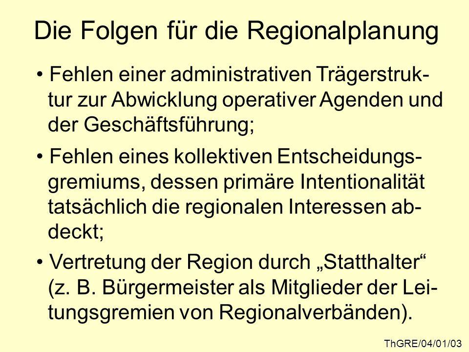 Die Folgen für die Regionalplanung ThGRE/04/01/03 Fehlen einer administrativen Trägerstruk- tur zur Abwicklung operativer Agenden und der Geschäftsfüh
