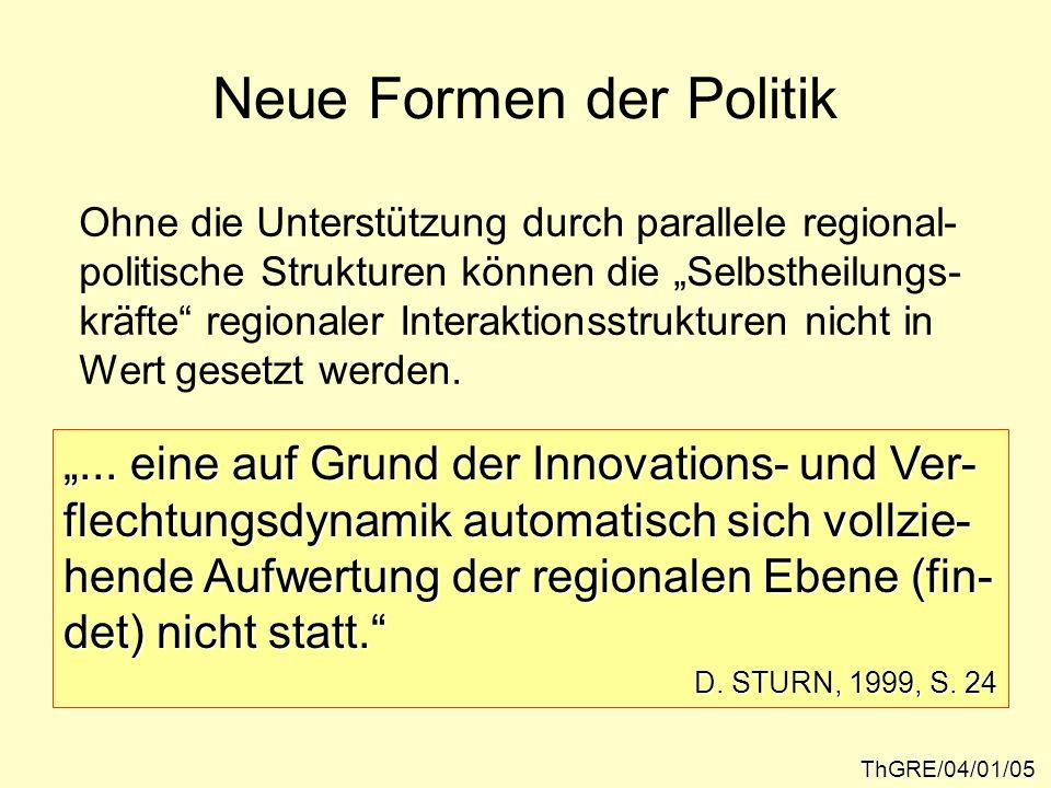 Neue Formen der Politik ThGRE/04/01/05 Ohne die Unterstützung durch parallele regional- politische Strukturen können die Selbstheilungs- kräfte region