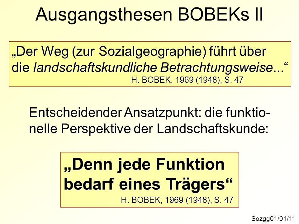 Ausgangsthesen BOBEKs IISozgg01/01/11 Der Weg (zur Sozialgeographie) führt über die landschaftskundliche Betrachtungsweise... H. BOBEK, 1969 (1948), S