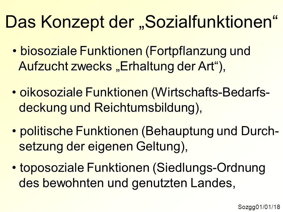 Das Konzept der Sozialfunktionen Sozgg01/01/18 biosoziale Funktionen (Fortpflanzung und biosoziale Funktionen (Fortpflanzung und Aufzucht zwecks Erhal