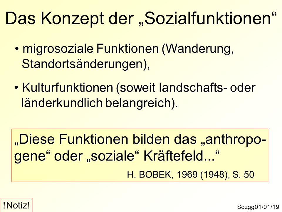 Sozgg01/01/19 Das Konzept der Sozialfunktionen migrosoziale Funktionen (Wanderung, migrosoziale Funktionen (Wanderung, Standortsänderungen), Standorts