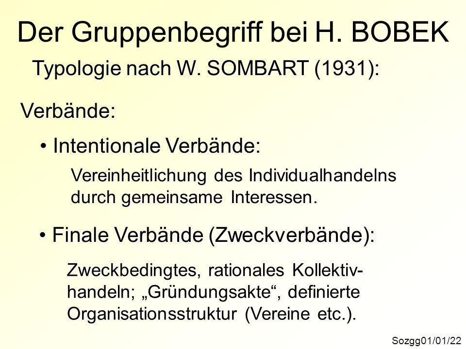 Sozgg01/01/22 Der Gruppenbegriff bei H. BOBEK Typologie nach W. SOMBART (1931): Verbände: Intentionale Verbände: Intentionale Verbände: Vereinheitlich