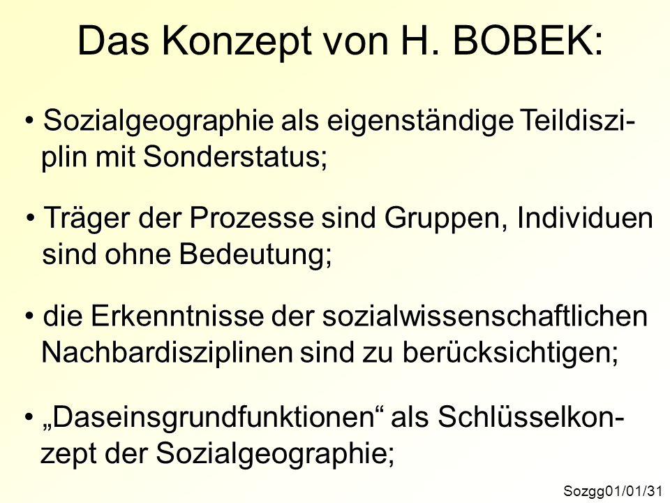 Das Konzept von H. BOBEK: Sozgg01/01/31 Sozialgeographie als eigenständige Teildiszi- Sozialgeographie als eigenständige Teildiszi- plin mit Sondersta