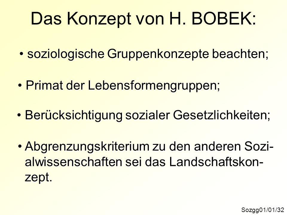 Sozgg01/01/32 Das Konzept von H. BOBEK: soziologische Gruppenkonzepte beachten; soziologische Gruppenkonzepte beachten; Primat der Lebensformengruppen