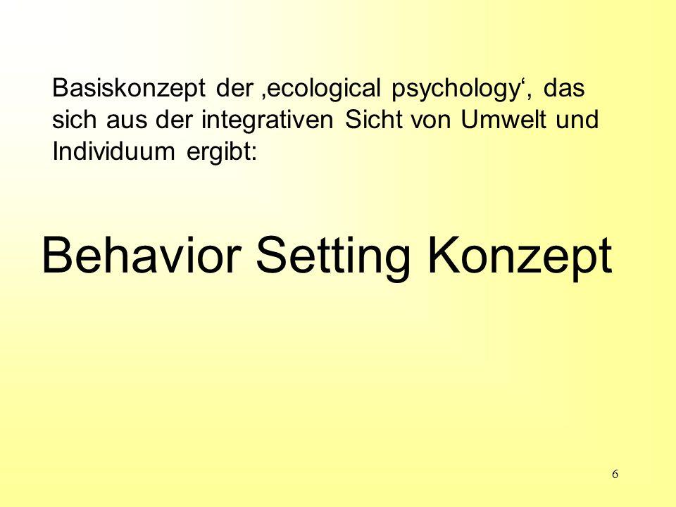 7 Was ist ein Behavior Setting.