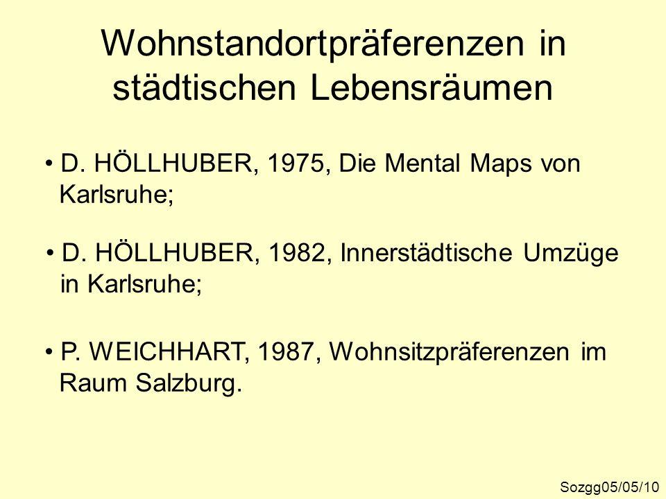 Wohnstandortpräferenzen in städtischen Lebensräumen Sozgg05/05/10 D. HÖLLHUBER, 1975, Die Mental Maps von Karlsruhe; D. HÖLLHUBER, 1982, Innerstädtisc