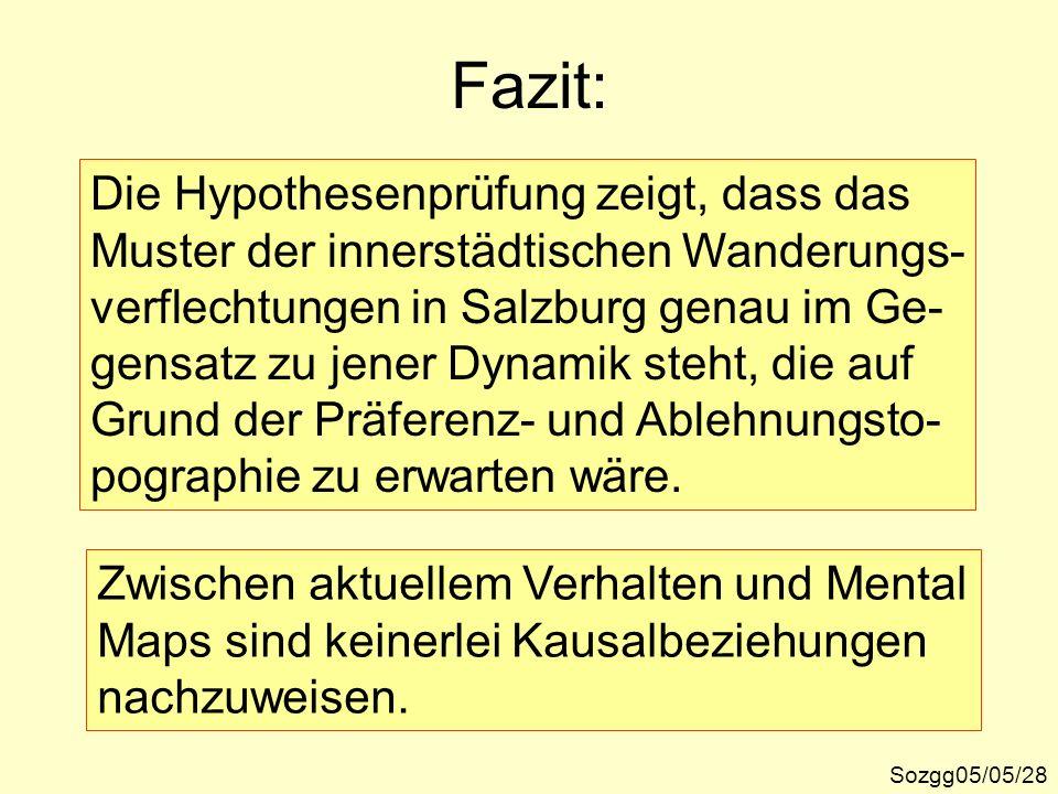 Fazit: Sozgg05/05/28 Die Hypothesenprüfung zeigt, dass das Muster der innerstädtischen Wanderungs- verflechtungen in Salzburg genau im Ge- gensatz zu