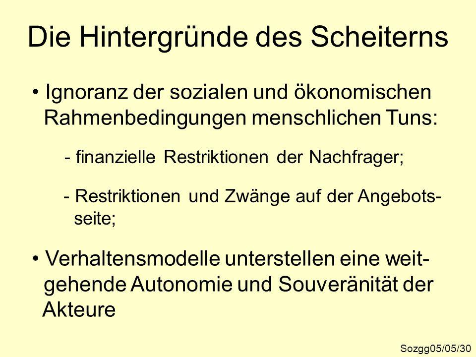 Die Hintergründe des Scheiterns Sozgg05/05/30 Ignoranz der sozialen und ökonomischen Rahmenbedingungen menschlichen Tuns: - finanzielle Restriktionen