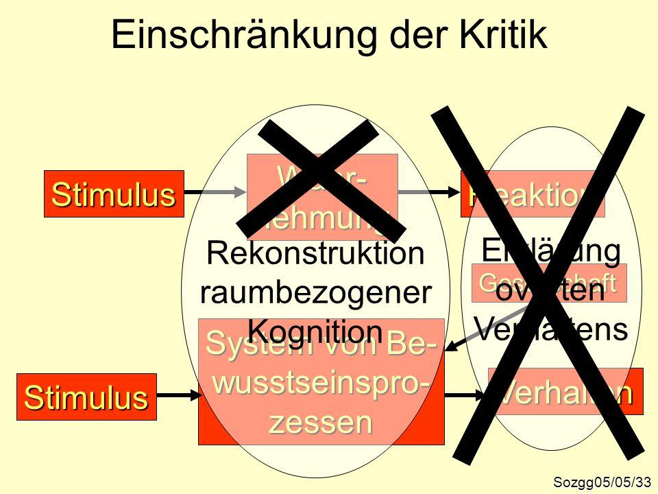 Einschränkung der Kritik Sozgg05/05/33 ReaktionStimulus Wahr-nehmung System von Be- wusstseinspro-zessen Verhalten Stimulus Gesellschaft Rekonstruktio
