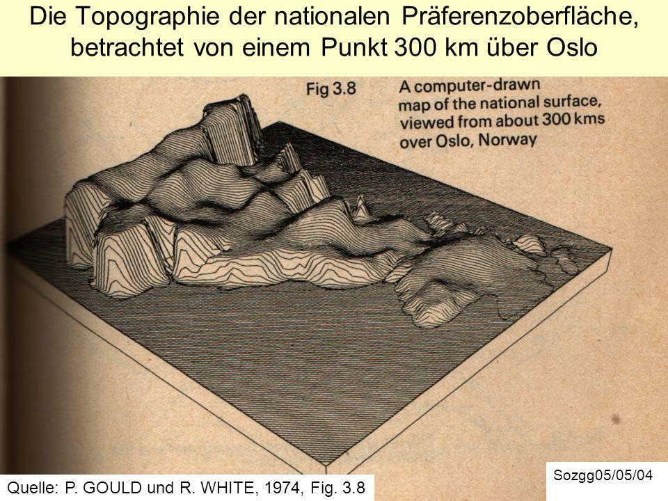 Die Topographie der nationalen Präferenzoberfläche, betrachtet von einem Punkt 300 km über Oslo Sozgg05/05/04 Quelle: P. GOULD und R. WHITE, 1974, Fig