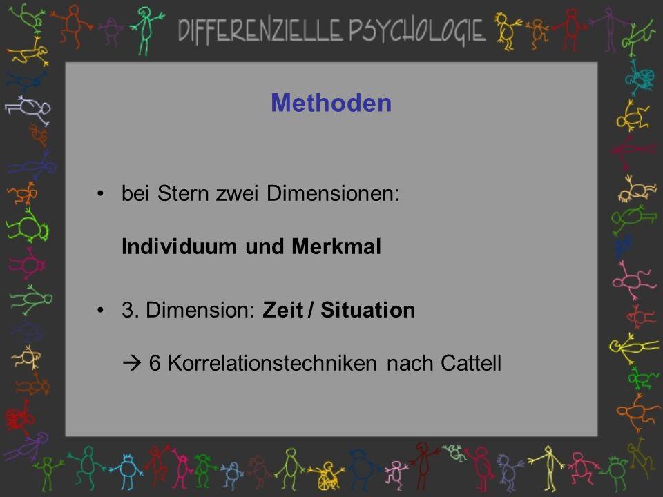 Methoden bei Stern zwei Dimensionen: Individuum und Merkmal 3.