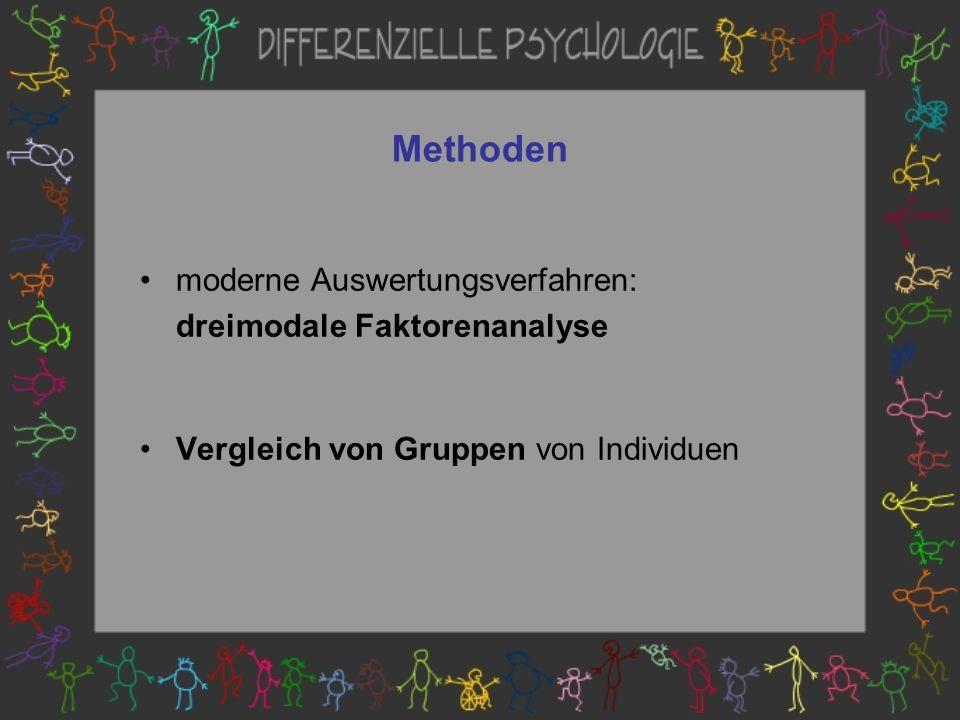 Methoden moderne Auswertungsverfahren: dreimodale Faktorenanalyse Vergleich von Gruppen von Individuen