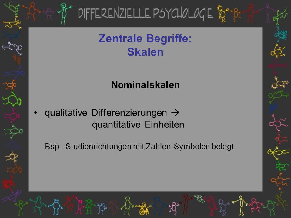 Zentrale Begriffe: Skalen Nominalskalen qualitative Differenzierungen quantitative Einheiten Bsp.: Studienrichtungen mit Zahlen-Symbolen belegt