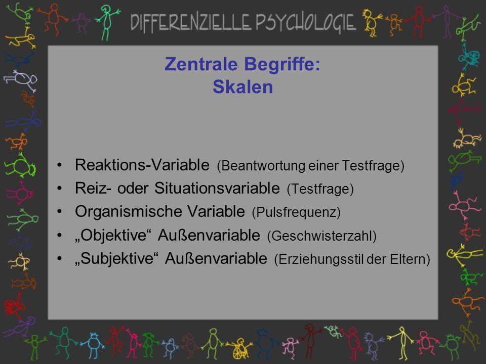 Zentrale Begriffe: Skalen Reaktions-Variable (Beantwortung einer Testfrage) Reiz- oder Situationsvariable (Testfrage) Organismische Variable (Pulsfrequenz) Objektive Außenvariable (Geschwisterzahl) Subjektive Außenvariable (Erziehungsstil der Eltern)