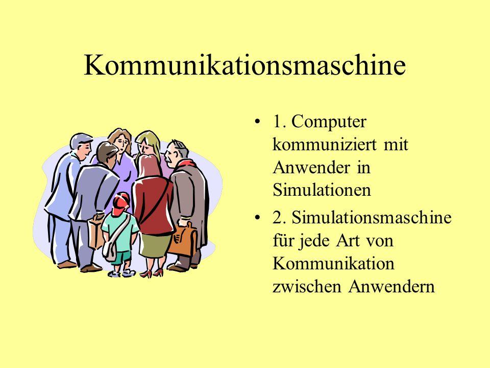 Kommunikationsmaschine 1.Computer kommuniziert mit Anwender in Simulationen 2.