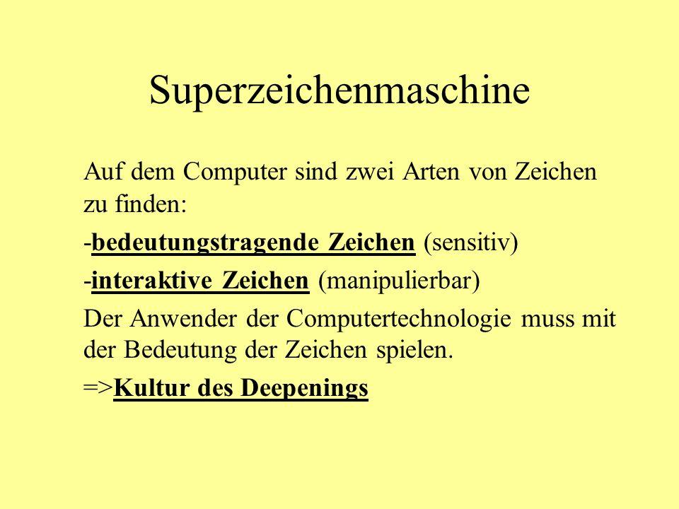 Superzeichenmaschine Auf dem Computer sind zwei Arten von Zeichen zu finden: -bedeutungstragende Zeichen (sensitiv) -interaktive Zeichen (manipulierbar) Der Anwender der Computertechnologie muss mit der Bedeutung der Zeichen spielen.
