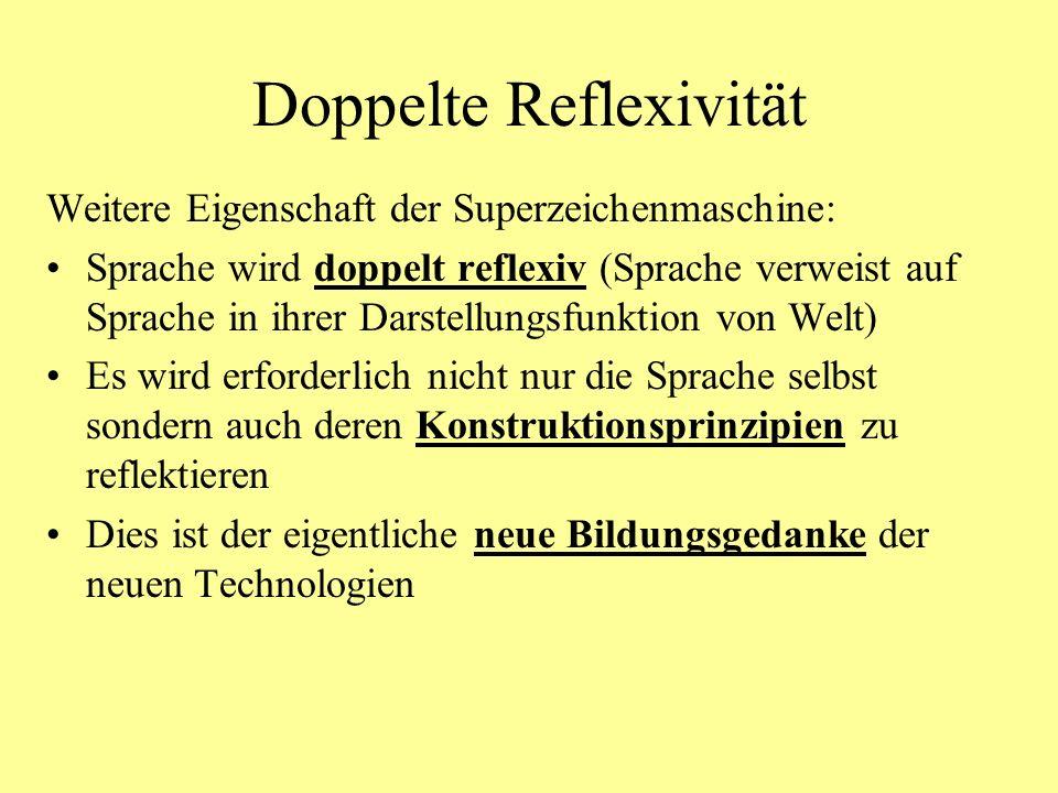 Doppelte Reflexivität Weitere Eigenschaft der Superzeichenmaschine: Sprache wird doppelt reflexiv (Sprache verweist auf Sprache in ihrer Darstellungsfunktion von Welt) Es wird erforderlich nicht nur die Sprache selbst sondern auch deren Konstruktionsprinzipien zu reflektieren Dies ist der eigentliche neue Bildungsgedanke der neuen Technologien