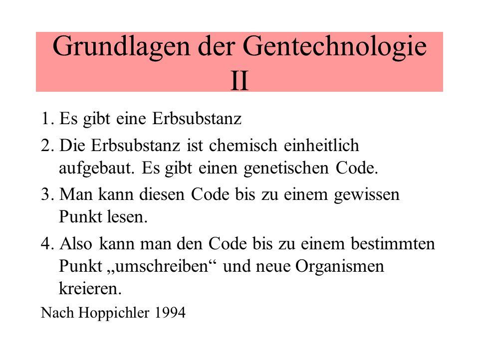 Grundlagen der Gentechnologie II 1. Es gibt eine Erbsubstanz 2. Die Erbsubstanz ist chemisch einheitlich aufgebaut. Es gibt einen genetischen Code. 3.