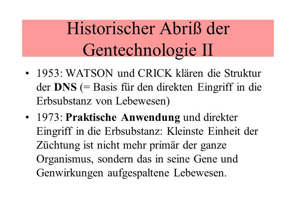 Historischer Abriß der Gentechnologie II 1953: WATSON und CRICK klären die Struktur der DNS (= Basis für den direkten Eingriff in die Erbsubstanz von