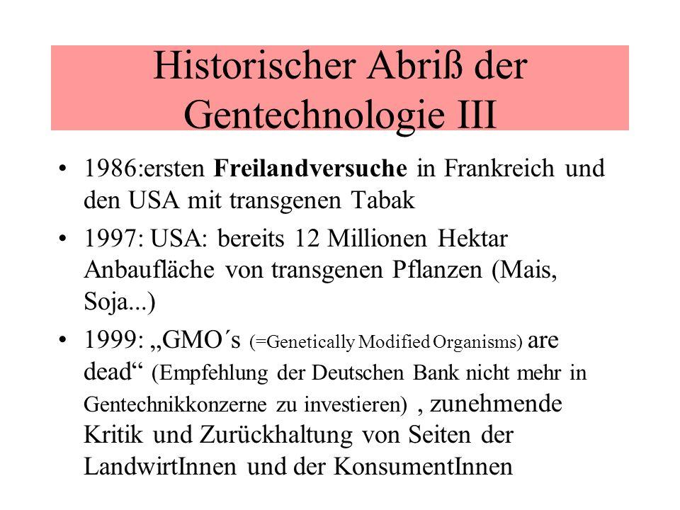 Historischer Abriß der Gentechnologie III 1986:ersten Freilandversuche in Frankreich und den USA mit transgenen Tabak 1997: USA: bereits 12 Millionen