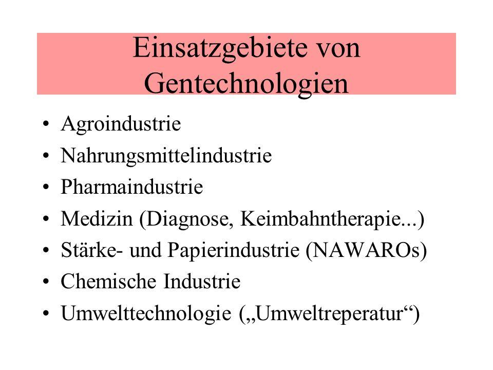 Einsatzgebiete von Gentechnologien Agroindustrie Nahrungsmittelindustrie Pharmaindustrie Medizin (Diagnose, Keimbahntherapie...) Stärke- und Papierind